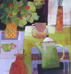 Green Coffee Pot with a Plant. Acrylic. 62cm x62cm