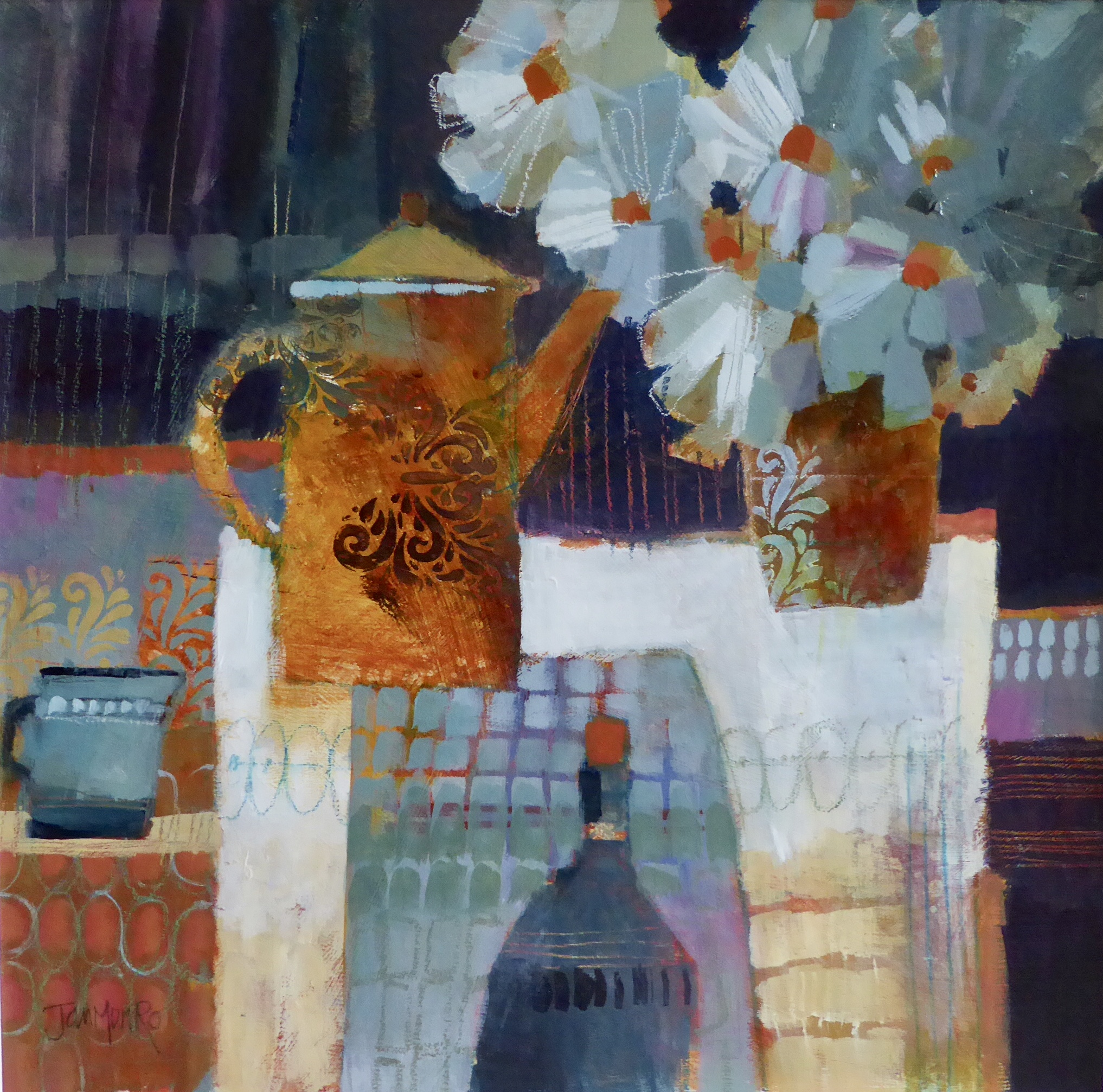Coffee Pot and Blue flowers